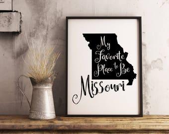 Missouri state print, Missouri map printable, Missouri poster, Missouri decor, Missouri sign, Missouri wall art, farm print, farmhouse decor