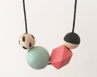Handpainted Wooden Bead necklace | Coral, mint, black | READY TO SHIP
