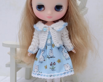 Cute white and blue lacy knit cardigan for Middie Blythe