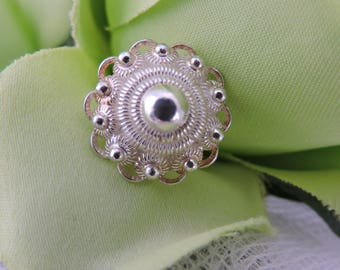 Vintage  Dutch Zeeland Zeeuwse Knop Knoop Button Silver Ring- Old But In New Condition!