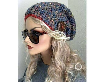Slouchy Beanie Hat, Women's Hat, Bohemian Chic, Boho Hat, Hat with Button, Crocheted Hat, Colorful Hat,  Knit Hat, Women's Accessories