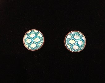 12mm Turquoise Dragon Scale Stud Earrings