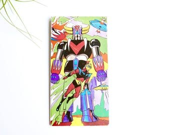 "Vintage 1970s print "" Goldorak "" by Lordky Toei Animato dynamic production pictural  Antenne 2, 1978 / robot, kid child room"