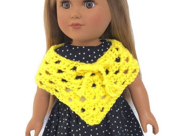 18 Inch Doll Poncho, Yellow Poncho, Hand Crocheted, Summer Doll Clothes