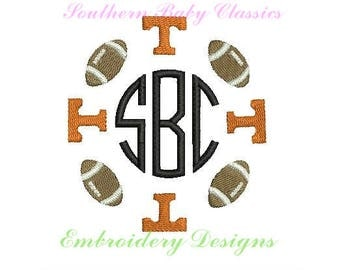 T Tennessee Vol Vols Football Circle Frame Design File for Embroidery Machine Monogram Instant Download Football