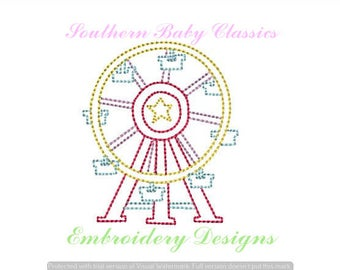 Ferris Wheel Fair Carnival Vintage Quick Stitch Embroidery Machine File Instant Download  Classic Preppy Hand Stitched Look