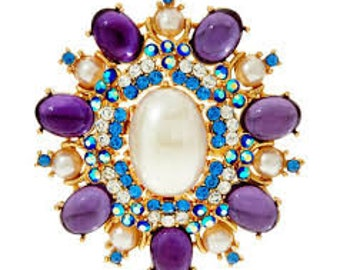 Huge Joan Rivers Royal Estate Style Brooch - Purple -  S2171