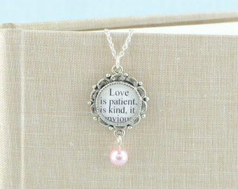 Love is Patient, Love is Kind / Pearl Drop Necklace / 1 Corinthians 13 Love Quote / Bridal Necklace / Anniversary Gifts / Wedding Jewelry