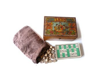 French Loto Game with Wooden Box 24 Cards and 90 Wooden Numbers Antique game 1930s Family Game
