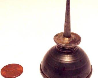 Very Mini Tin Oiler/Vintage 1940s /Thumb Oiler/Industrial Art/Metal Oil Can/Vtg Garage Tools/Grease Monkey/c1940/s