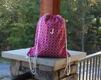 Pink Quatrefoil Drawstring Gym Bag Cinch Gym Bag