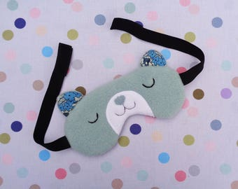 Blue Bear Sleep Mask, Travel Eye Mask, Fleece Eye Mask, Relaxing Eyewear, Sleep Aid, Travel Gift
