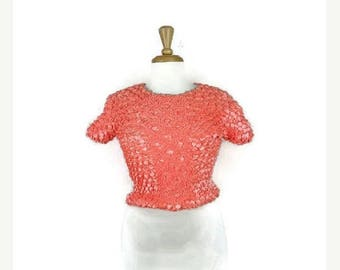 ON SALE Vintage Stretchy crinkly Popcorn Blouse from 90's/Pink*