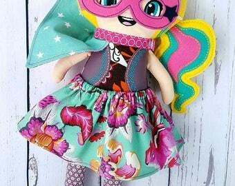 Cloth doll-Superhero-dress up Doll-Cape-Fabric doll-Christmas-Birthday-Gift-Toddlers-Babyshower-Action figure-Boho girl-With guitar-Keepsake