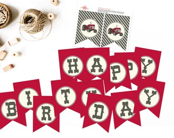 Red Vintage Tractor Bash Birthday Banner - INSTANT Download