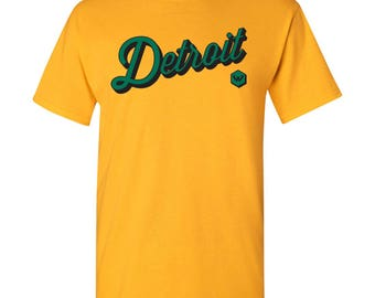 Wayne State Warriors Detroit Script Basic Cotton T-Shirt - Gold