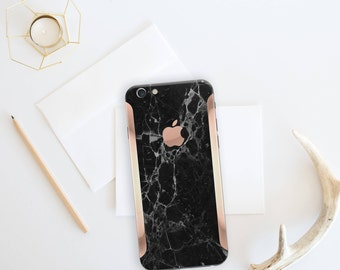 Black Marble and Rose Gold Edge Vinyl Skin Decal for iPhone 6/6s, iPhone 7 , iPhone 8 , iPhone X -  Platinum Edition