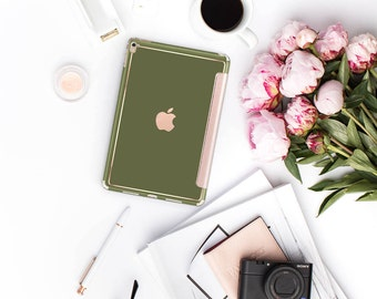 Platinum Edition Olive Green Rose Gold Smart Cover Hard Case for iPad Air 2, iPad mini 4 , iPad Pro , New iPad 9.7 2017
