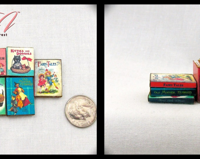 5 SET CHILDREN'S BOOKS Miniature Books Dollhouse 1:12 Scale Prop Books Fill Bookshelf Faux Books