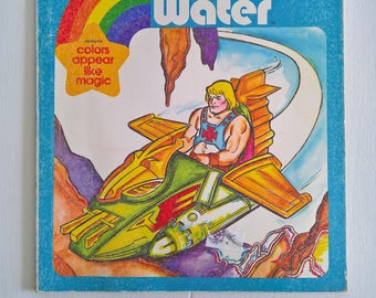 vintage he man masters of the universe paint with water coloring book retro 1980s kids