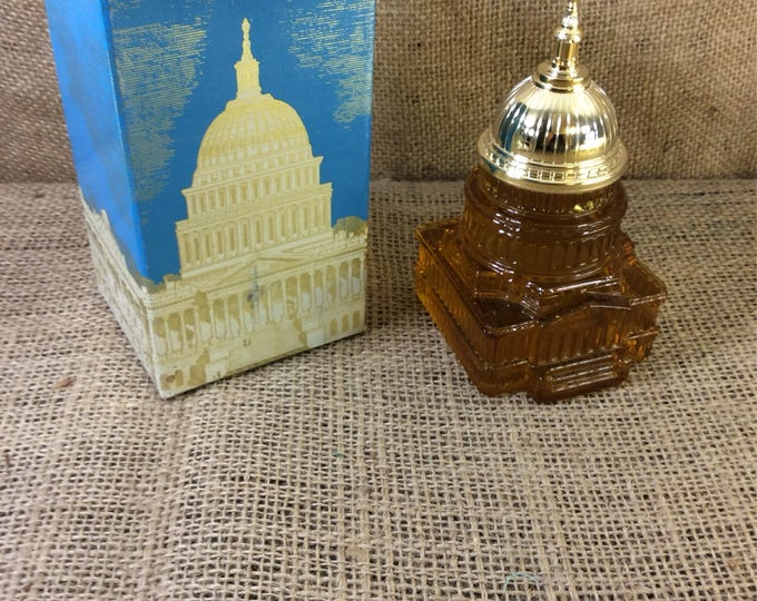 Vintage Avon The Capitol with a full bottle of Tribute aftershave, Avon decanter, vintage Avon aftershave decanter, Avon collectible