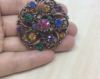 Brooch Coro Vintage Coro Flower brooch  Rhinestone brooch  Multi color brooch  Coro jewelry  Coro brooch  Gift brooch for mom  Signed brooch