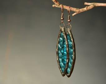 Dangling teardrop earrings, blue glass jewelry, boho earrings, gift idea, blue drop earrings, wife gift