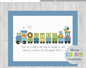 Kids personalized printable prayer wall art with childs boys personalized train diy printable 8x10 with bible verse baptism date birth info negle Gallery