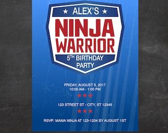 American Ninja Warrior Inspired Birthday Party Invitation -  Custom Printable