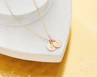 Solid Gold Initial Necklace - 9ct Gold Necklace - Personalised Necklace - Two Letter Necklace - Two Disc Necklace - Two Initial Necklace