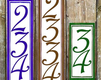 Custom post house number plaque. Vertical numbers for fence posts. Vertical porcelain outdoor numbers. Door sign, Custom House numbers,
