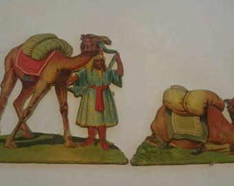 Vintage Cardboard Lithograph Camels Diorama Desert Nomad Paper Toys c1900 Litho Print