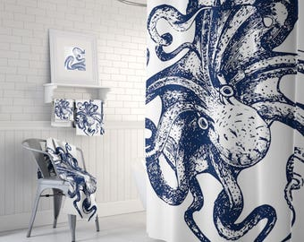Octopus Bathroom, Octopus Shower, Octopus Curtain, Octopus Decor, Octopus Art, Tentacles, Navy Curtain, and White
