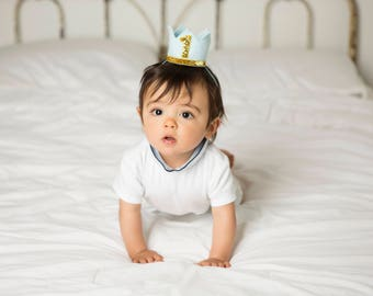 First Birthday Boy    Boy Birthday Crown    Boy Birthday Outfit   Boy Party Hat    Little Blue Olive    Baby Blue and Gold