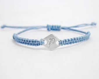 Personalised silver bracelet | Initial bracelet | Custom bracelet | Macrame bracelet | Stackable bracelet | Silver custom charm bracelet