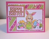 Happy Easter Handmade Greeting Card - Easter Bunny Painting Easter eggs