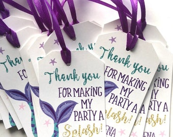 Mermaid Favor Tag, Mermaid Favor Tags, Mermaid Birthday Tags, Mermaid Birthday, Mermaid Favor Tags, Under The Sea Mermaid Party