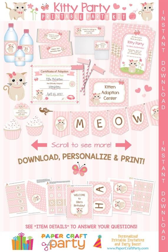 Kitty Cat Kitten Printable Party Kit