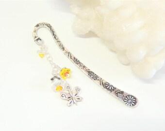 Butterfly Flower Beaded Bookmark, Sunflower Bookmark, Flower Bookmark, Handmade Bookmark, Page Saver, Stocking Stuffer, Gift Idea.