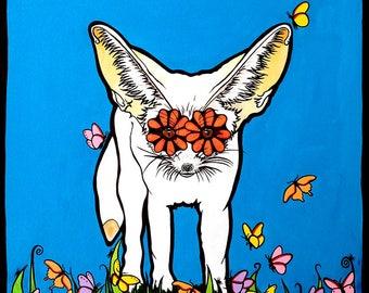 Fox Print, Fox Ears, Fennec Fox, Fox, Fox art fox print fox decor fox painting fox art print fox illustration fox love fox wall art print