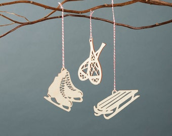 Snow Sports Wooden Holiday Christmas Ornaments - Skates Snowshoes Sled - Lasercut Birch (set of 3)
