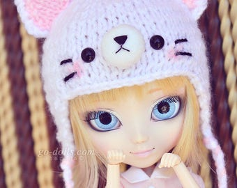"""8-9"""" & 9-10"""": Kitty knitted hat (sad ver.) [white]"""