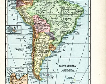1910 Map of SOUTH AMERICA