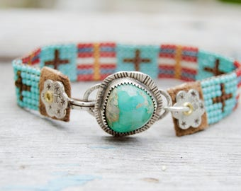 Sterling Turquoise Beaded Bracelet . South Western . Cross . Czech Glass  Handmade  . Multi Colors . Hand Stamped
