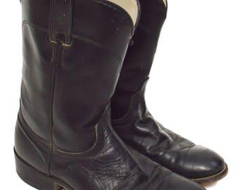 Vintage 80s Laredo Black Motorcycle Riding Leather Boots Sz 9D