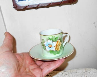 1960s Teacup and saucer set Demitasse set LEFTON CHINA Hand painted SL510 roses celadon green gold leaf