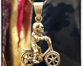 Sterling Silver Skull Pendant Sterling Silver Skull Badass Pendant Skull Bicycle Pendant Skull Necklace Skull Motor Pendant Biker Pendant