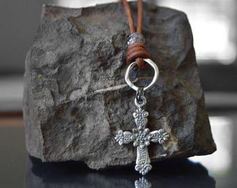 Catholic men's jewelry, Men's Cross Necklace, Christian Men's jewelry, Cross Necklace for men, Confirmation sponsor gift, Godfather gift