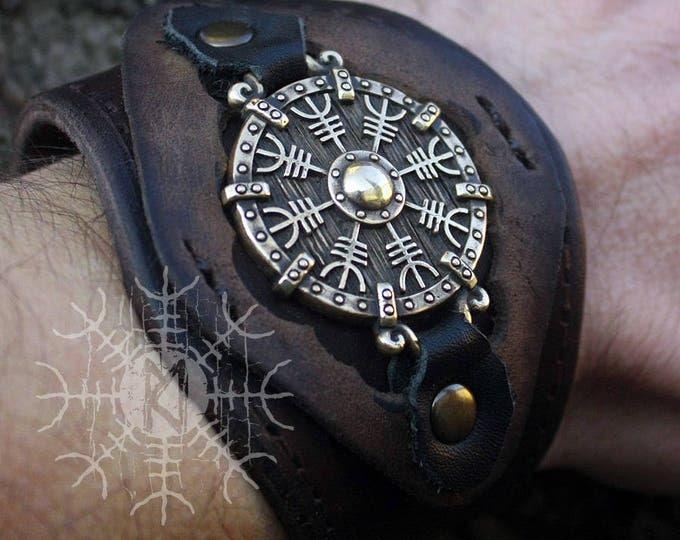 NEW ITEM! ~ Bronze Aegishjálmur Helm of Awe Futhark Vikings Amulet Pendant Talisman Leather Bracelet
