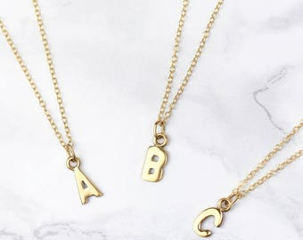 Initial jewelry etsy tiny gold initial necklace gold letter necklace gold initial pendant initial jewellery mozeypictures Images